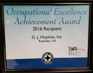 The National Safety Council Occupational Excellence Achievement Award